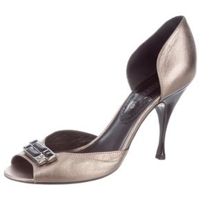 Like-New Céline Leather Silver D'Orsay Pumps 9